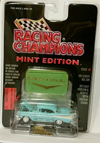1957 Powder Blue Chevy Chevrolet Bel Air - Issue #9 Racing Champions Mint Edition Die Cast Emblem and Vehicle with Display Stand - Air Bel Stores