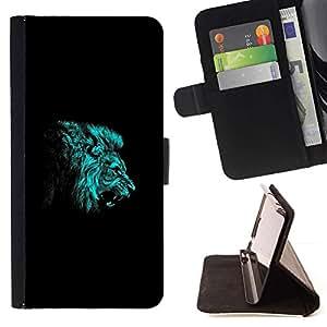 Momo Phone Case / Flip Funda de Cuero Case Cover - BLUE LION ROAR - HTC Desire 626