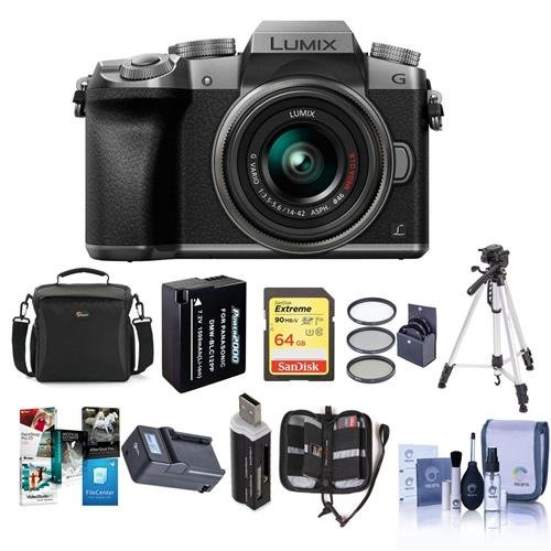 Panasonic Lumix DMC-G7 Mirrorless Micro Four Thirds Camera with 14-42mm Lens, Silver - Bundle with Camera Case, 64GB SDXC U3 Card, Spare Battery, Tripod, 46mm Filter Kit, Software Package, And (Mobility Charger Bundle)