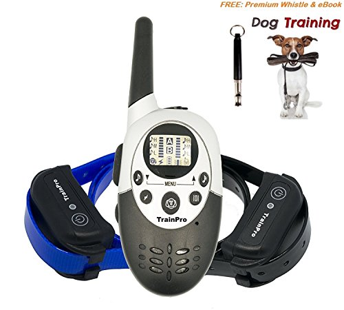 TrainPro Elite 1100D Dual Electronic Dog Training Shock Collars 1100 Yard Rechargeable Waterproof e-Collars with Tone | Shock | Vibration NEW 3.0 Version for 2017 BONUS Training eBook + Dog Whistle (Static Shock Costume For Sale)