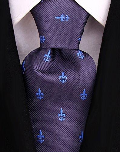 Blue Fleur De Lis - Fleur De Lis Ties for Men - Woven Necktie - Gray w/Blue