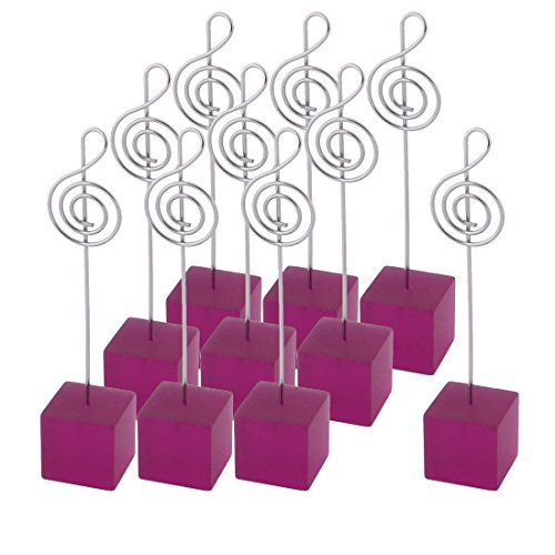 uxcell Resin Wedding Musical Note Shaped Tabletop Decor Photo Memo Clip 10 Pcs Fuchsia