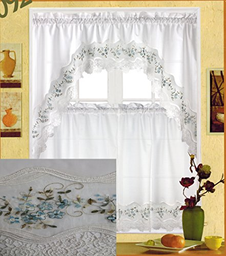 Fancy Collection 3pc White with Embroidery Floral Kitchen/cafe Curtain Tier and Valance Set 001092 (Blue)
