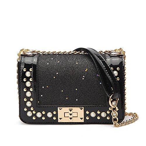 Simple Handbag Black Shoulder Black Pearl Fashion New Gwqgz Ladies WfX1T7