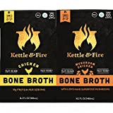 Mushroom & Chicken Bone Broths- 2 Pack (1 Mushroom Chicken / 1 Chicken) of Collagen & Gelatin Rich Bonebroth Stock for Ketogenic/Paleo/Gluten Free/Whole 30 Diet Friendly Nutrition from Ancient Source