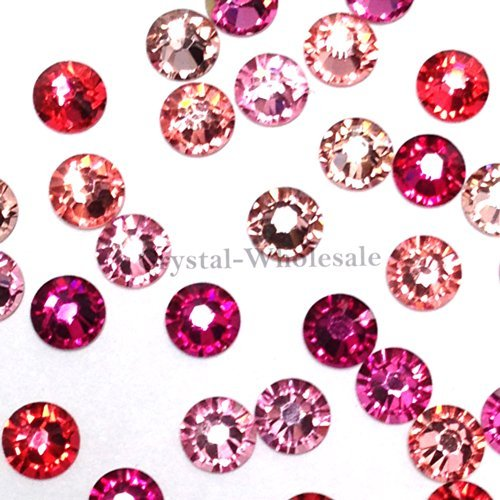 (4.7mm) crystal flatbacks No-Hotfix rhinestones PINK Colors Mix (Fix Swarovski Flat Back Crystal)