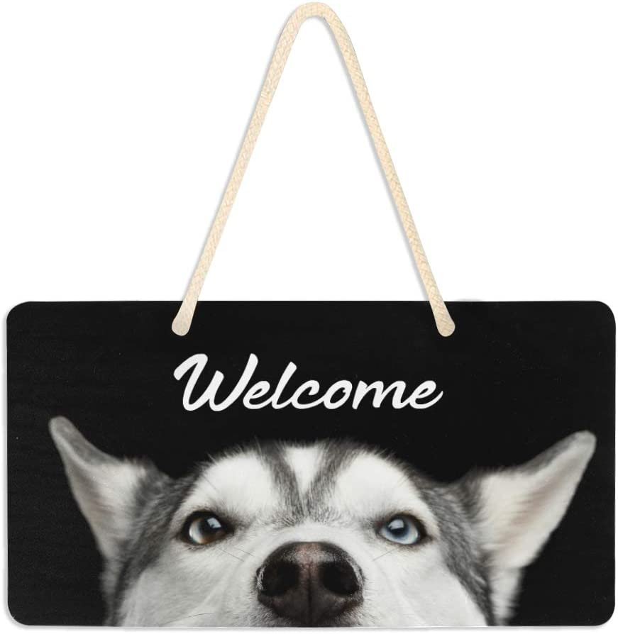 Blueangle Siberian Husky Dog Welcome Sign - Front Door Decor Wall Hanging Acrylic Plaque Porch Decorations for Home