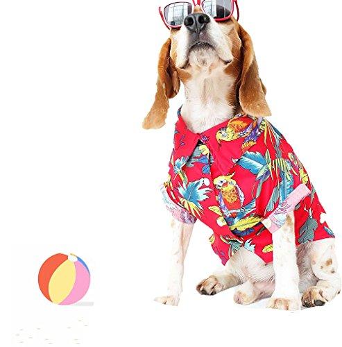 Runncha Shop Red Pet Puppy Dog Shirts, Small Dog,Large Dog T-Shirts,Clothes, Apparel,Hawaiian Style