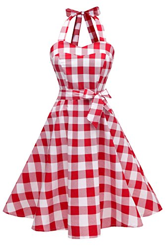 Topdress Women'sVintage Polka Audrey Dress 1950s Halter Retro Cocktail Dress Red White Plaid L