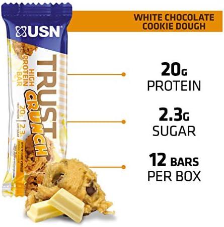 USN Lot de 12 barres Trust Crunch Chocolat Blanc Cookies 60g
