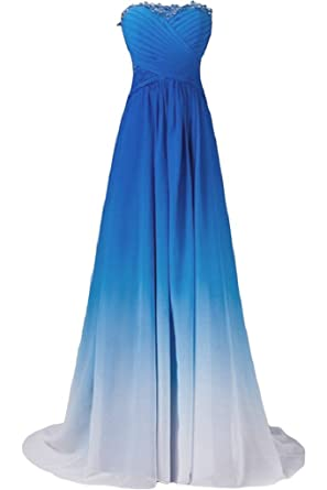 Ivydressing Gorgeous Strapless Prom Wedding Gowns Gradient Chiffon Party Dresses-2-Blue
