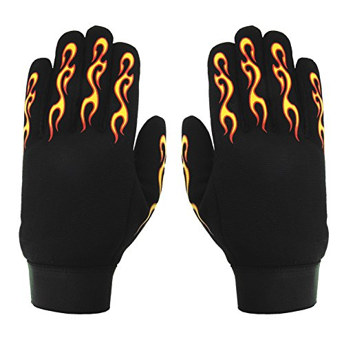 Hot Leathers Yellow and Red Flame Mechanic Gloves (Black, X-Small)
