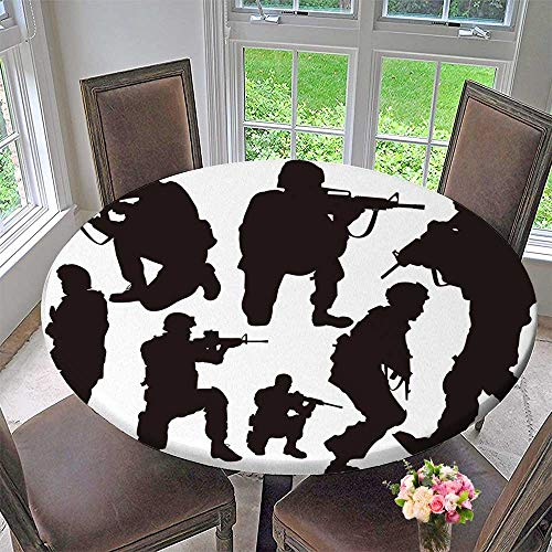 Round Polyester Tablecloth Table Cover The sier in Combat Positions for Most Home Decor 40