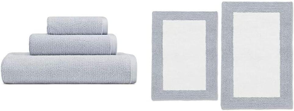 Vera Wang Organic Towel Set + Rug Set Serene Blue