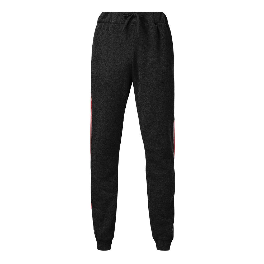 WUAI Mens Athletic Running Pants Lightweight Open Bottom Sweatpants with Pockets Casual Trousers(Black,US Size M = Tag L) by WUAI (Image #2)