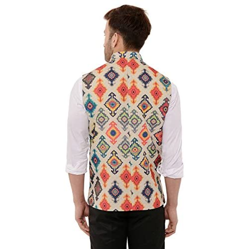51 %2BzY fx1L. SS500  - Cenizas Casual Multicolor Nehru Jacket Neck Waistcoat for Men Slim fit