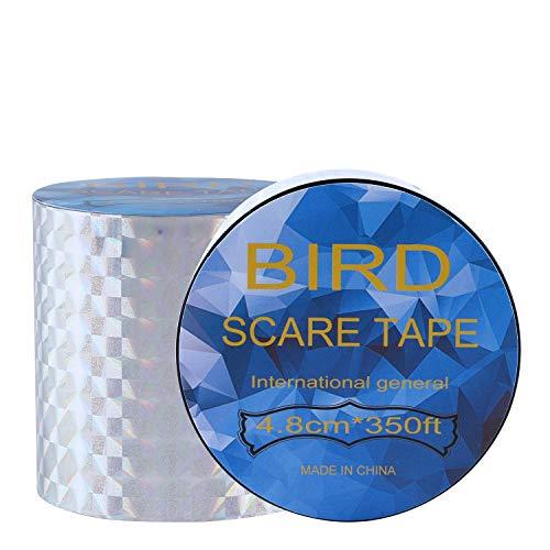 BlueStraw Bird Repellent Scare Tape - Simple Banding Equipment, Double Side Bird Deterrent Pest Repellent Garden Protector 2 Pack (4.8cm/150ft)