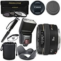 Canon EF 50mm f/1.4 USM Lens with Vivitar TTL Flash + 3pc Filter Kit + Monopod