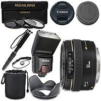 Canon EF 50mm f/1.4 USM Lens with Vivitar TTL Flash + 3pc Filter Kit + Monopod