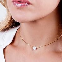 14K Gold Filled White Opal Heart SHORT Choker Necklace - Designer Handmade Collar - Length: 13.5 inch + 3 inch Extender
