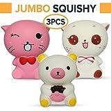 3 PCS Jumbo Squishies Pack – Super Cute Kawaii, Slow Rising, Animal Squishy Toys Set (2 Kittys Plus Bear) Fun for Kids, Teens & Adults.