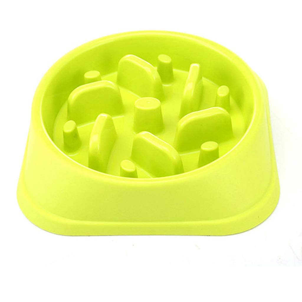 GREEN NYDZDM Plastic Pet Feeder Anti Choke Dog Bowl Puppy Cat Slow Down Eatting Feeder Healthy Diet Dish Jungle Design, Pink bluee Green (color   Green)