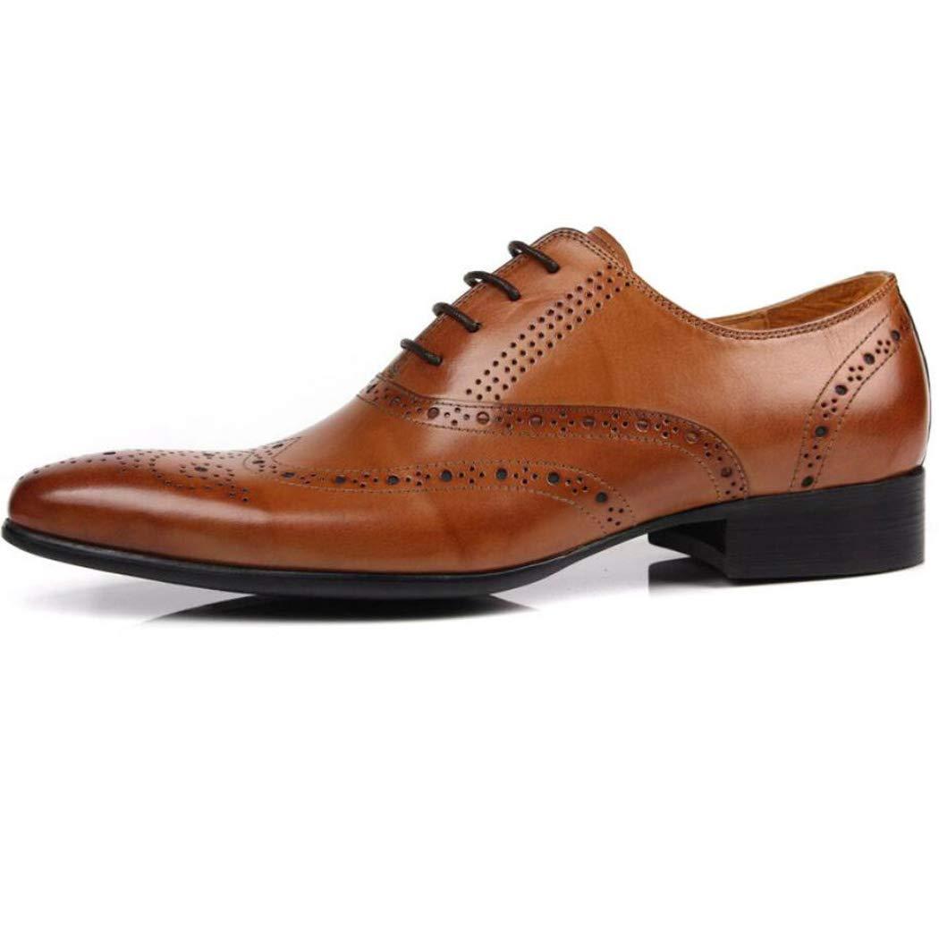 Zxcer Leder England Spitze Schuhe geschnitzt Herrenschuhe entwickelt atmungsaktive niedrige Schuhe gut aussehende Schuhe tragen