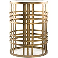 Gold Side Table | Antique Metal End Table with Glass Top Includes ModHaus Living (TM) Pen
