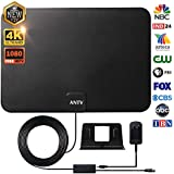 [Latest 2018] HD Digital TV Antenna - ANTV Amplified HDTV Antenna Indoor with High Gain Amplifier Signal Booster, Noise-Free Reception for 4K HD Free TV Channels, Support All Type TVs -10ft Coax Cable