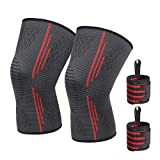 HOMPO Knee Brace Compression Sleeve with Wrist Guard Elastic Breathable for Running Pain Relief & Cross Training