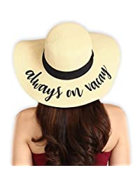 Brook + Bay Women's Embroidered Floppy Beach Sun Hat - Great for Travel - Foldable & Packable