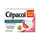 Cepacol Extra Strength, Fast and Effective Relief for Sore Throats, Sugar Free, Cherry, Mega Value Pack, 36 Count