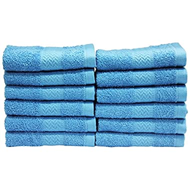 Trident Soft and Absorbent Wash Cloth, Blue, 12-Pack
