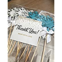 Snowflake Cupcake Toppers - Light Blue & Silver With White Bows. Perfect For Christmas Party, Winter Wonderland Party Decoration, And Holiday Celebration -12 CT.