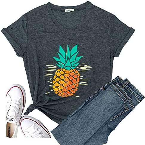 Hellopopgo Pineapple Women's Funny Christmas Cute T Shirt Lover Short Sleeve Graphic Tees Casual Blouse Tops Tees