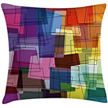 Modern Art Home Decor Throw Pillow Cushion Cover by Ambesonne, Rectangular Plane Figures with Unequal Straight Side Cross Angles Artwork, Decorative Square Accent Pillow Case, 18 X18 Inches, Multi