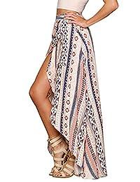 Huiyuzhi Womens Floral Print Maxi Skirt Sarong Beach Cover Up Dress