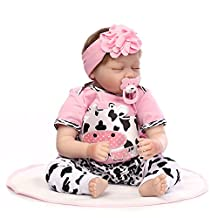 22inch Silicone Reborn Doll,Decdeal Toddler Baby Doll Girl Sleeping Doll Blue Eyes Lifelike Cute Gifts Toy