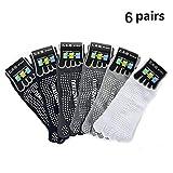 YNXing 5 Pairs Non Slip Skid Pilates Yoga Socks Dispensing Antiskid Yoga Five-Toe Socks Anti-Slip Full Toe with Grips Cotton for Men and Women