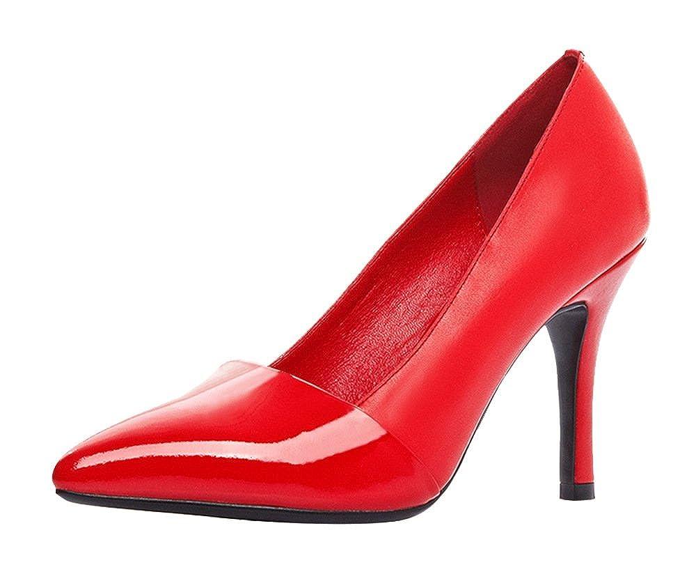 DYF Feine Damen Schuhe High Heel Scharfe Farbe Größe Rot Flach Mund Rot Größe 41 22bb0b