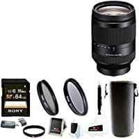 Sony FE 24-240mm f/3.5-6.3 OSS E-mount Telephoto Zoom Lens with Sony 64GB SDXC Card + 72mm Filters + Large Lens Pouch + Focus Accessory Bundle