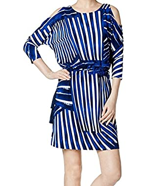 Womens Blouson Cold Shoulder Cocktail Dress
