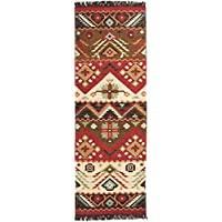 Western Exotic Aztec Medallion Design Area Rug, Geometric Diamonds Stripes Ikats Themed, Runner Indoor Hallway Doorway Bedroom Room Patio Carpet, Lush Country Emblems Motif, Brown, Red, Size 2'6 x 8'