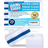 20 Extra Large Magic Combo Eraser Sponge Pack - 2X Thick, Extra Durable Melamine Sponges in Bulk - Multi Surface Cleaning Power Scrubber Pads - Bathtub, Floor, Baseboard, Bathroom, Wall Cleaner