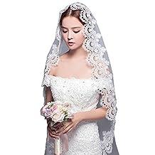 Aurora Bridal® Women's Long White Lace Wedding Bridal Veils without Comb