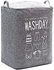75L Large-capacity Clothes Storage Bags, Foldable Laundry Basket, Drawstring Waterproof and Dustproof Bag, Used for Bedroom, Clothes, Bedding (grey)