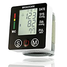 BROADCARE Digital Wrist Blood Pressure Monitor with case,99 x 2 Memories Groups for 2 user,Irregular Heartbeat Detector