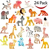 Cartoon Animal, 24 Pack Mini Plastic Wild Animals Models Toys Kit, Funcorn Toys Jungle Animal Figures Set for Children Boys and Girls Kids Party Favors Classrooms Rewards Birthday Game Educational Toy