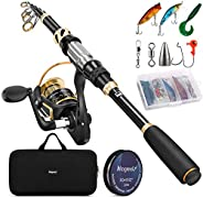Magreel Telescopic Fishing Rod and Reel Combo Set with Fishing Line/Telescopic Fishing Pole,Fishing Lures Kit&