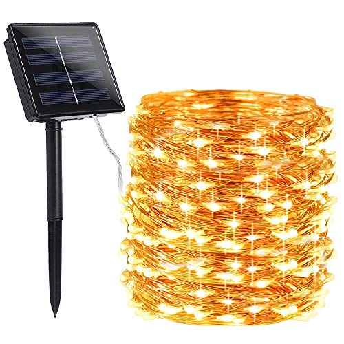 Toodour Solar String Lights 72ft 200 LED Solar Powered String Lights with 8 Lighting Modes, Waterproof Copper Wire Lights for Garden, Patio, Lawn, Landscape, Home Decor (Warm White)